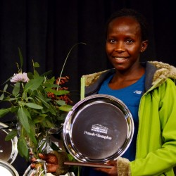 Jane Murage of Kenya, four-time winner of the TC10K, won the GoodLife Half Marathon