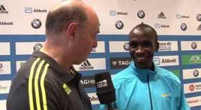 Eliud Kipchoge, Emmanuel Mutai and Geoffrey Mutai talk about the BMW BERLIN-MARATHON on Sunday