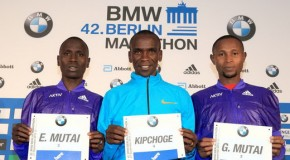 Eliud Kipchoge leads Kenyan trio in pursuit of superfast race, while German runners target Olympic qualifying times for Rio